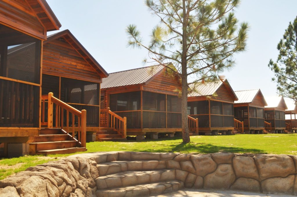 H20 Cabins in a row